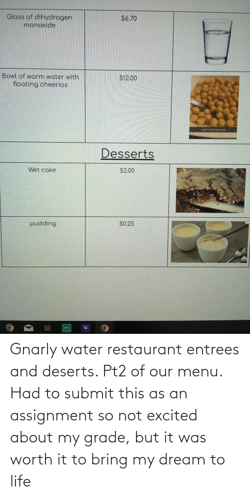 Life: Gnarly water restaurant entrees and deserts. Pt2 of our menu. Had to submit this as an assignment so not excited about my grade, but it was worth it to bring my dream to life