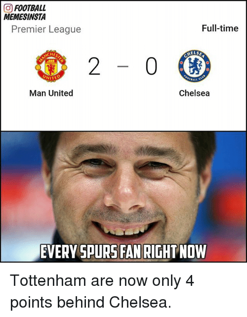 Chelsea, Football, and Memes: GO FOOTBALL  MEMESINSTA  Full-time  Premier League  HELSE  Chelsea  Man United  EVERY SPURS FAN RIGHTNOW Tottenham are now only 4 points behind Chelsea.