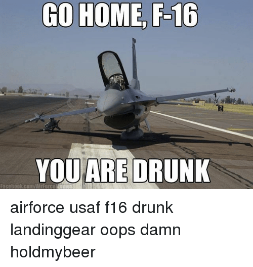 Drunk, Facebook, and Memes: GO HOME F-16  YOU ARE DRUNK  Facebook com/M  Force airforce usaf f16 drunk landinggear oops damn holdmybeer