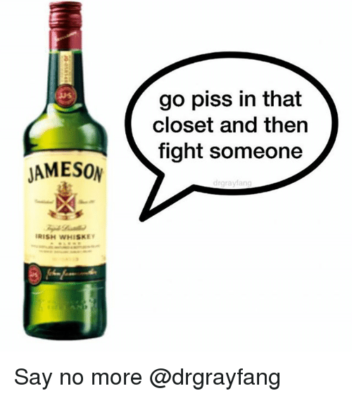 Irish, Say No More, and Dank Memes: go piss in that  closet and then  fight someone  JAMESON  IRISH WHISKEY Say no more @drgrayfang