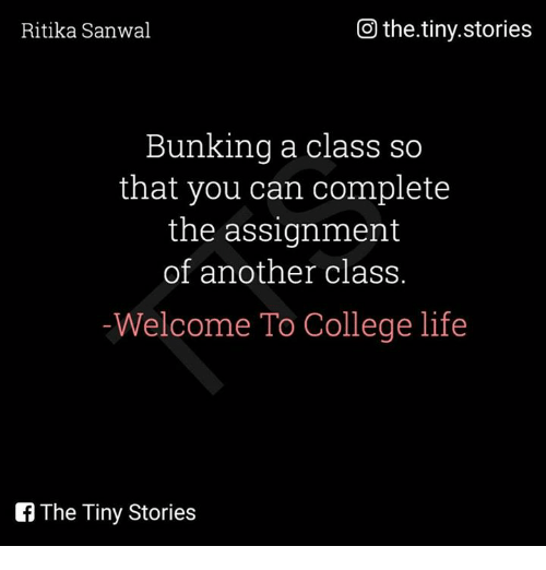 College, Life, and Memes: Go the.tiny.stories  Ritika Sanwal  Bunking a class so  that you can complete  the assignment  of another class.  Welcome To College life  The Tiny Stories