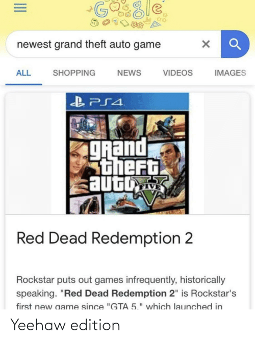 "rockstars: GO8le  newest grand theft auto game  NEWS  VIDEOS  ALL  SHOPPING  IMAGES  gRand  stheft  auto  Red Dead Redemption 2  Rockstar puts out games infrequently, historically  speaking. ""Red Dead Redemption 2"" is Rockstar's  first new game since ""GTA 5."" which launched in Yeehaw edition"