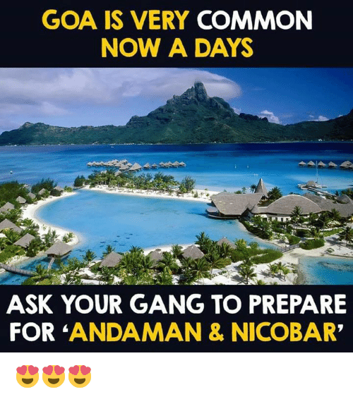 """Memes, Gang, and Common: GOA IS VERY COMMON  NOW A DAYS  ASK YOUR GANG TO PREPARE  FOR ANDAMAN & NICOBAR"""" 😍😍😍"""