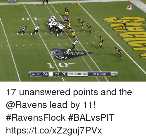 Memes, Goal, and Ravens: &GOAL  BAL 24PIT 20  3rd 2:48 :231  1st& Goal 17 unanswered points and the @Ravens lead by 11! #RavensFlock  #BALvsPIT https://t.co/xZzguj7PVx