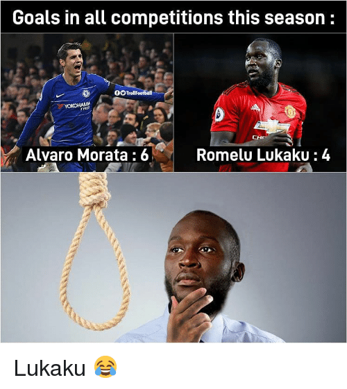 Goals, Memes, and 🤖: Goals in all competitions this season:  0OTroll  Alvaro Morata:6  Romelu LukakU: 4 Lukaku 😂