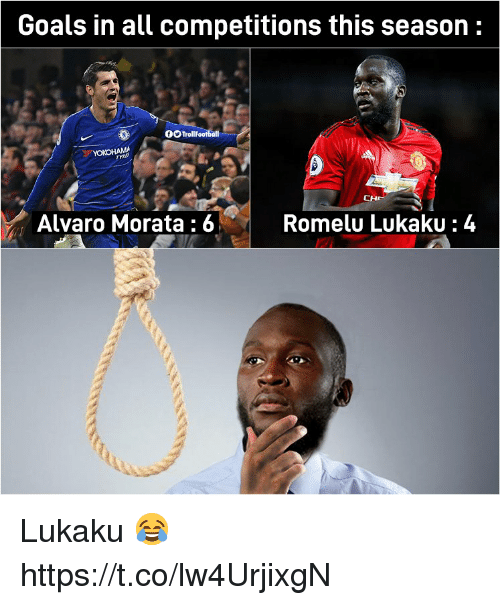 Goals, Memes, and 🤖: Goals in all competitions this season:  OOTrollFootball  Alvaro Morata :6  Romelu LukakU:4 Lukaku 😂 https://t.co/lw4UrjixgN