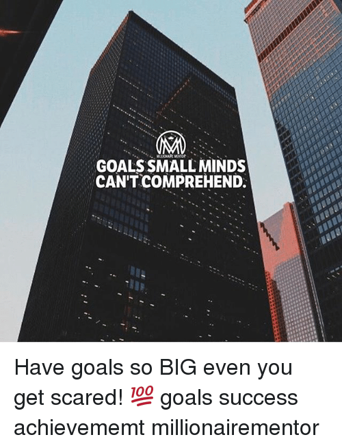 Goals, Memes, and Success: GOALS SMALL MINDS  CAN'T COMPREHEND. Have goals so BIG even you get scared! 💯 goals success achievememt millionairementor