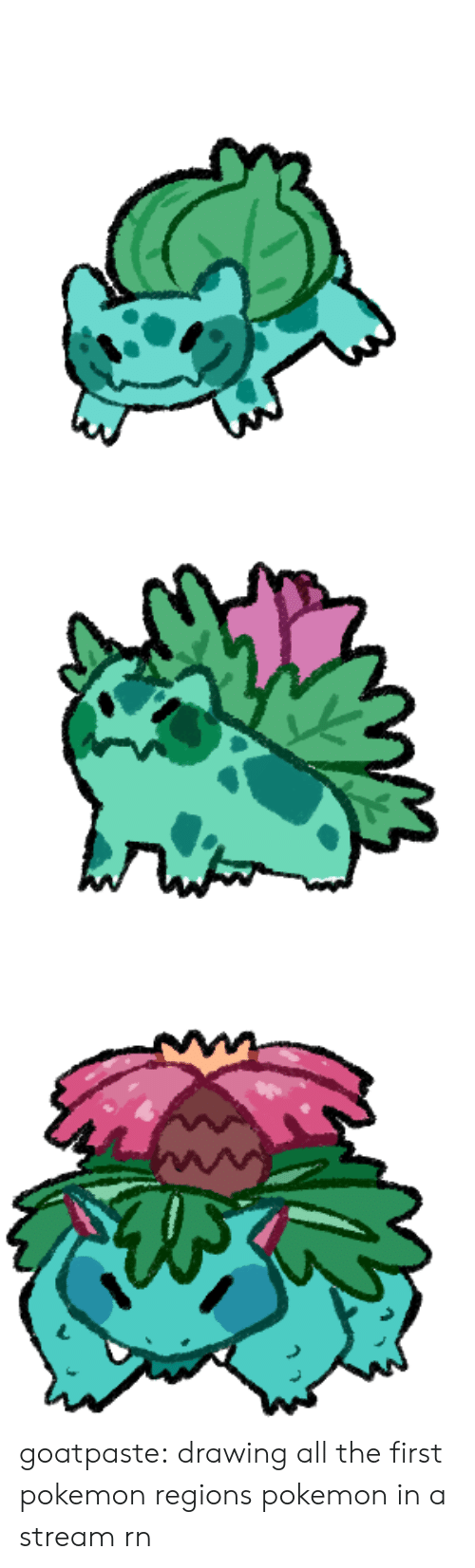 Pokemon, Tumblr, and Blog: goatpaste: drawing all the first pokemon regions pokemon in a stream rn