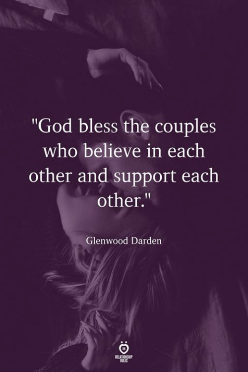 "God, Who, and Believe: ""God bless the couples  who believe in each  other and support each  other.""  Glenwood Darden  ILES"