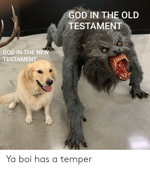 new testament: GOD IN THE OLD  TESTAMENT  GOD IN THE NEW  TESTAMENT Ya boi has a temper