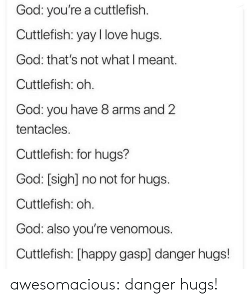 sigh: God: you're a cuttlefish  Cuttlefish: yay I love hugs.  God: that's not what I meant.  Cuttlefish: oh.  God: you have 8 arms and 2  tentacles.  Cuttlefish: for hugs?  God: [sigh] no not for hugs.  Cuttlefish: oh.  God: also you're venomous.  Cuttlefish: [happy gasp] danger hugs! awesomacious:  danger hugs!