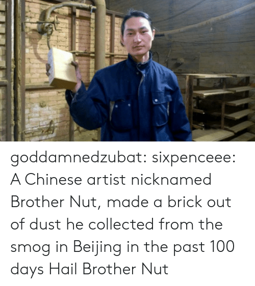 Beijing: goddamnedzubat: sixpenceee:  A Chinese artist nicknamed Brother Nut, made a brick out of dust he collected from the smog in Beijing in the past 100 days  Hail Brother Nut