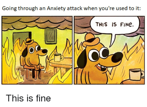 Anxiety Attack: Going through an Anxiety attack when you're used to it  THIS IS FINe.  OC This is fine
