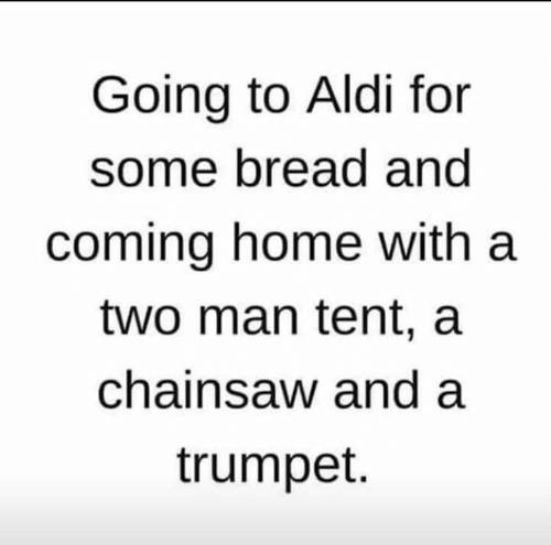 Memes, Aldi, and Home: Going to Aldi for  some bread and  coming home with a  two man tent, a  chainsaw and a  trumpet.