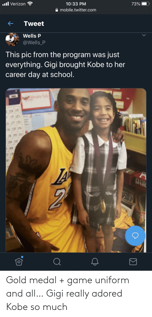 gold: Gold medal + game uniform and all… Gigi really adored Kobe so much