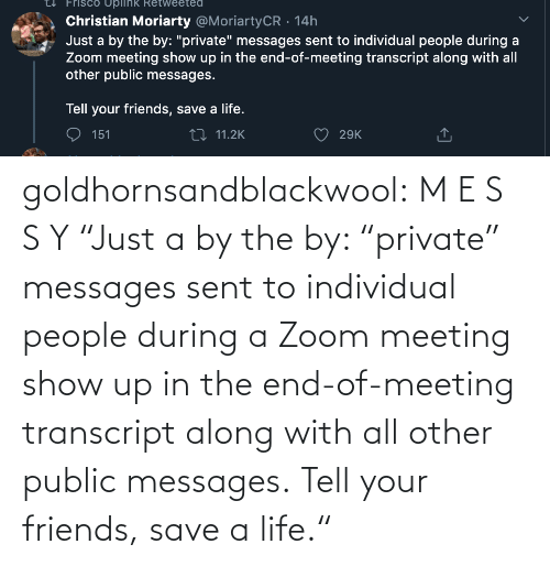 "meeting: goldhornsandblackwool:  M E S S Y ""Just a by the by: ""private"" messages sent to individual people during a Zoom meeting show up in the end-of-meeting transcript along with all other public messages.  Tell your friends, save a life."""