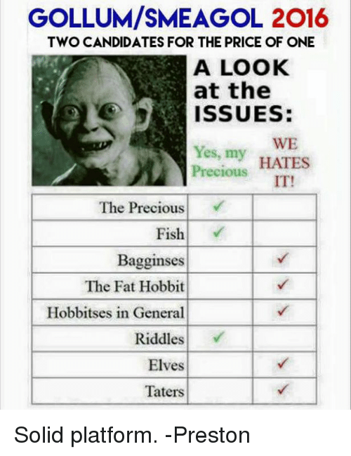 Memes, Precious, and Fish: GOLLUM/SMEAGOL 2016  TWO CANDIDATES FOR THE PRICE OF ONE  A LOOK  at the  ISSUES  WE  Yes, my  HATES  Precious  IT!  The Precious  Fish  Bagginses  The Fat Hobbit  Hobbitses in General  Riddles  Elves  Taters Solid platform.  -Preston