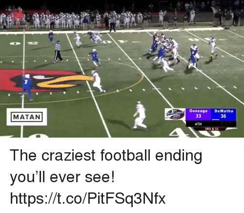Football, Gonzaga, and You: Gonzaga DeMatha  MATAN  36  4TH  RD & 33 The craziest football ending you'll ever see! https://t.co/PitFSq3Nfx