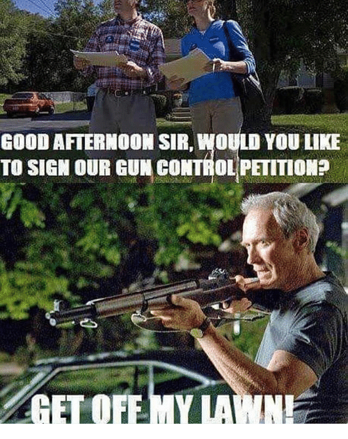 Memes, Control, and Good: GOOD AFTERNOON SIR, WOULD YOU LIKE  TO SIGN OUR GUN CONTROL PETITIONE  GET OFF-MY LAWN