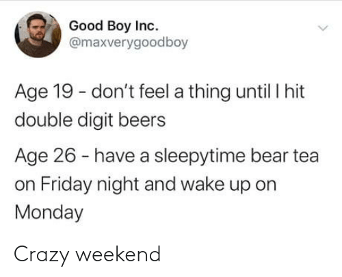 Bear: Good Boy Inc.  @maxverygoodboy  Age 19 - don't feel a thing until I hit  double digit beers  Age 26 - have a sleepytime bear tea  on Friday night and wake up on  Monday Crazy weekend