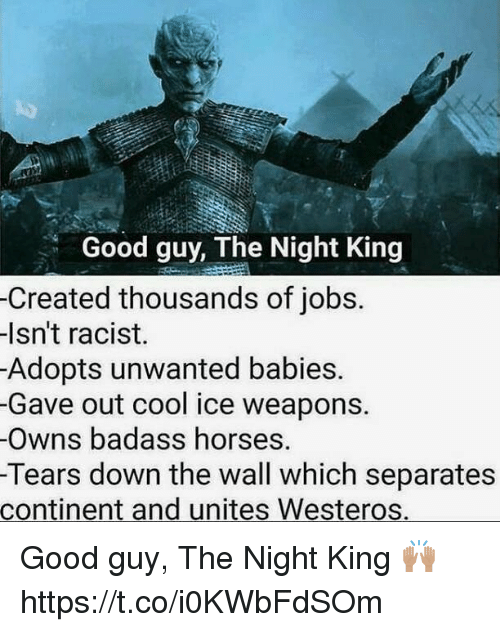 Horses, Memes, and Cool: Good guy, The Night King  -Created thousands of jobs.  lsn't racist.  Adopts unwanted babies.  -Gave out cool ice weapons.  Owns badass horses.  Tears down the wall which separates  continent and unites Westeros. Good guy, The Night King 🙌🏽 https://t.co/i0KWbFdSOm
