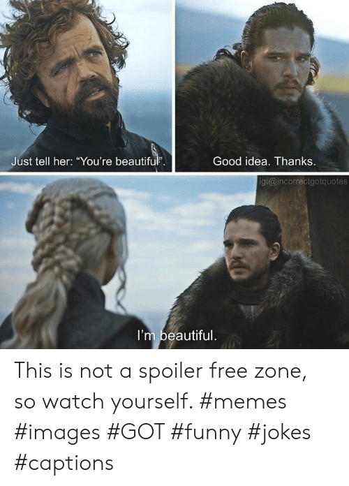 "Free Zone: Good idea. Thanks  Just tell her: ""You're beautifu.  g:@incorrectgotquotes  I'm beautiful This is not a spoiler free zone, so watch yourself. #memes #images #GOT #funny #jokes #captions"