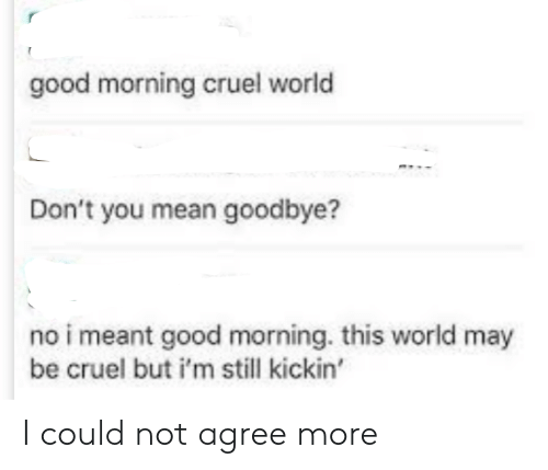 Good Morning, Good, and Mean: good morning cruel world  Don't you mean goodbye?  no i meant good morning. this world may  be cruel but i'm still kickin' I could not agree more