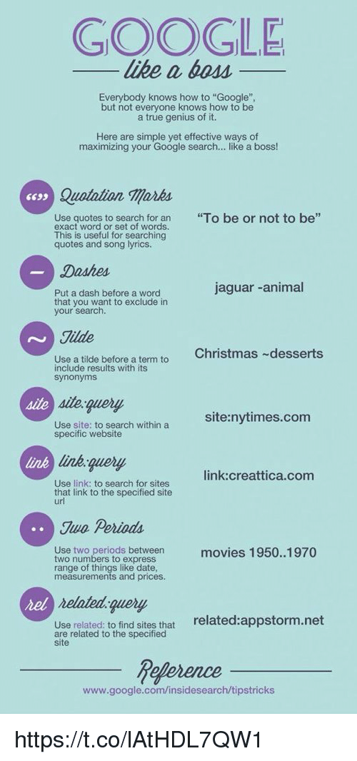 """to be or not to be: GOOGLE  like a 6oM_  Everybody knows how to """"Google"""",  but not everyone knows how to be  a true genius of it.  Here are simple yet effective ways of  maximizing your Google search... like a boss!  Quatalion marks  """"To be or not to be""""  Use quotes to search for an  exact word or set of words.  This is useful for searching  quotes and song lyrics.  jaguar -animal  Put a dash before a word  that you want to exclude in  your search.  Jilde  Christmas desserts  Use a tilde before a term to  include results with its  site query  site:nytimes.com  Use site: to search within a  specific website  link  link.query  link:creattica.com  Use link: to search for sites  that link to the specified site  Jwo Periods  Use two periods between  two numbers to express  range of things like date  measurements and prices.  movies 1950..1970  rel  nelated query  related:appstorm.net  Use related: to find sites that  are related to the specified  site  www.google.com/insidesearch/tipstricks https://t.co/lAtHDL7QW1"""