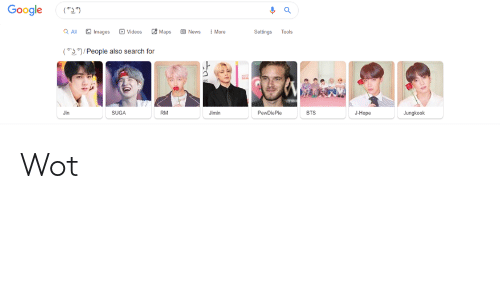 Jimin Bts: Google  (*))  O Videos  8 Maps  Q Al  O Images  O News  ! More  Settings  Tools  (I)/People also search for  PewDiePle  Jin  SUGA  RM  Jimin  BTS  J-Норe  Jungkook Wot