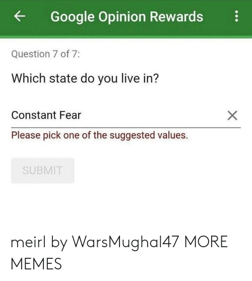 Questioningly: Google Opinion Rewards  Question 7 of 7:  Which state do you live in?  Constant Fear  Please pick one of the suggested values.  SUBMIT meirl by WarsMughal47 MORE MEMES