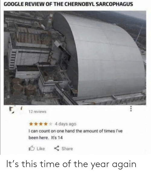 Amount: GOOGLE REVIEW OF THE CHERNOBYL SARCOPHAGUS  12 reviews  **** 4 days ago  I can count on one hand the amount of times I've  been here. It's 14  IO Like  < Share It's this time of the year again