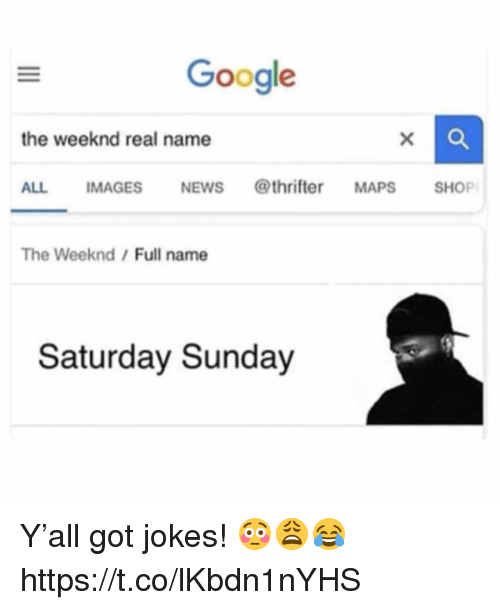 Google, The Weeknd, and Jokes: Google  the weeknd real name  ALL IMAGESNEWS @thrifter MAPS SHOP  The Weeknd/Full name  Saturday Sunday Y'all got jokes! 😳😩😂 https://t.co/lKbdn1nYHS