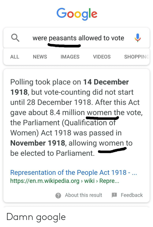 Google Were Peasants Allowed to Vote ^ ALL NEWS IMAGES VIDEOS