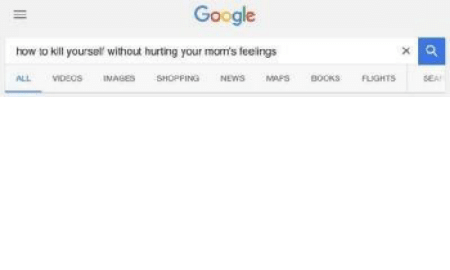 kill yourself: Google  x a  how to kill yourself without hurting your mom's feelings  SEA  VIDEOS  MAPS  FLIGHTS  ALL  IMAGES  SHOPPING  NEWS  BOOKS
