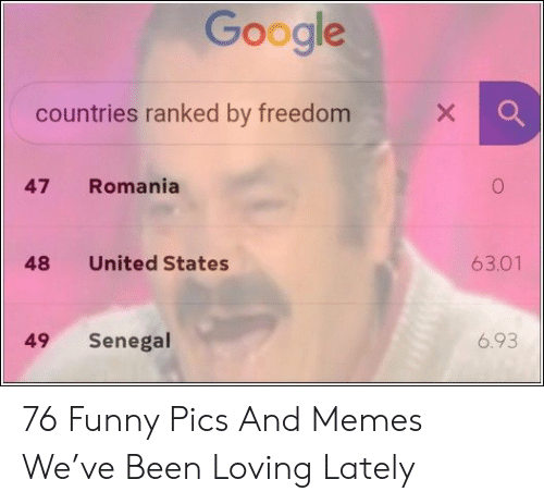 Funny, Google, and Memes: Google  X  countries ranked by freedom  Romania  47  63.01  United States  48  6.93  Senegal  49 76 Funny Pics And Memes We've Been Loving Lately