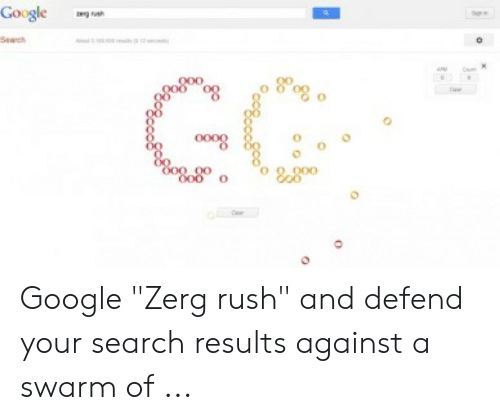 """Google Zerg: Google  zgh  Seach  GG  00o  oo  O00 00  O00 o  9,000 Google """"Zerg rush"""" and defend your search results against a swarm of ..."""