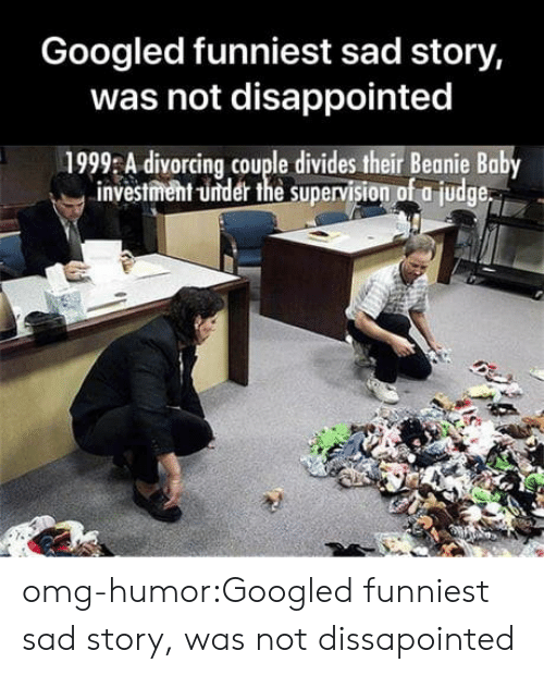 beanie baby: Googled funniest sad story,  was not disappointed  1999 A divorcing couple divides their Beanie Baby  investment -under the supervision of a judge omg-humor:Googled funniest sad story, was not dissapointed