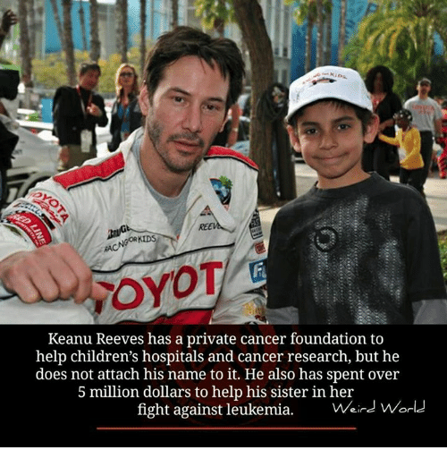 keanu reeve: GOR KIDS  OYOT  Keanu Reeves has a private cancer foundation to  help children's hospitals and cancer research, but he  does not attach his name to it. He also has spent over  5 million dollars to help his sister in her  fight against leukemia  Weird World
