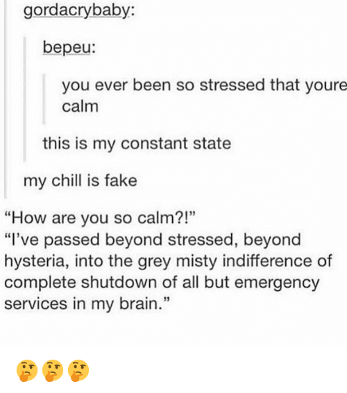 "Chill, Fake, and Memes: gordacrybaby:  bepeu:  you ever been so stressed that youre  calm  this is my constant state  my chill is fake  ""How are you so calm?!""  ""I've passed beyond stressed, beyond  hysteria, into the grey misty indifference of  complete shutdown of all but emergency  services in my brain.""  95  13 🤔🤔🤔"