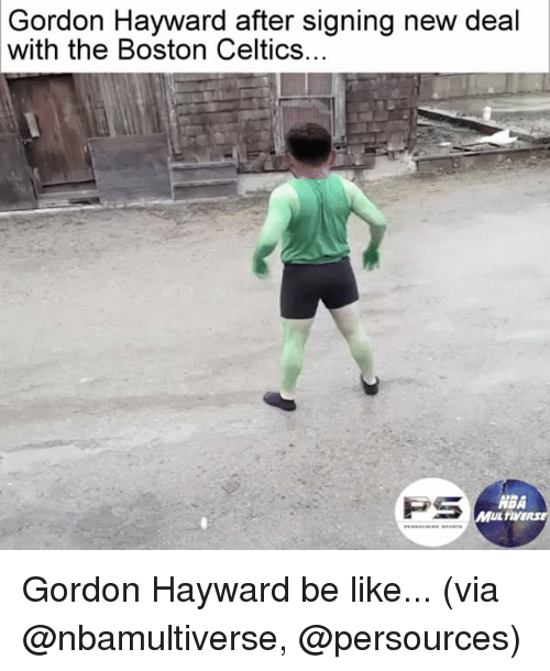 new deal: Gordon Hayward after signing new deal  with the Boston Celtics.  PS  ABA  MUL TIVERSE Gordon Hayward be like... (via @nbamultiverse, @persources)