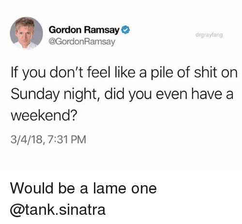 Gordon Ramsay, Shit, and Sunday: Gordon Ramsay  @GordonRamsav  drgrayfang  If you don't feel like a pile of shit on  Sunday night, did you even have a  weekend?  3/4/18,7:31 PM Would be a lame one @tank.sinatra