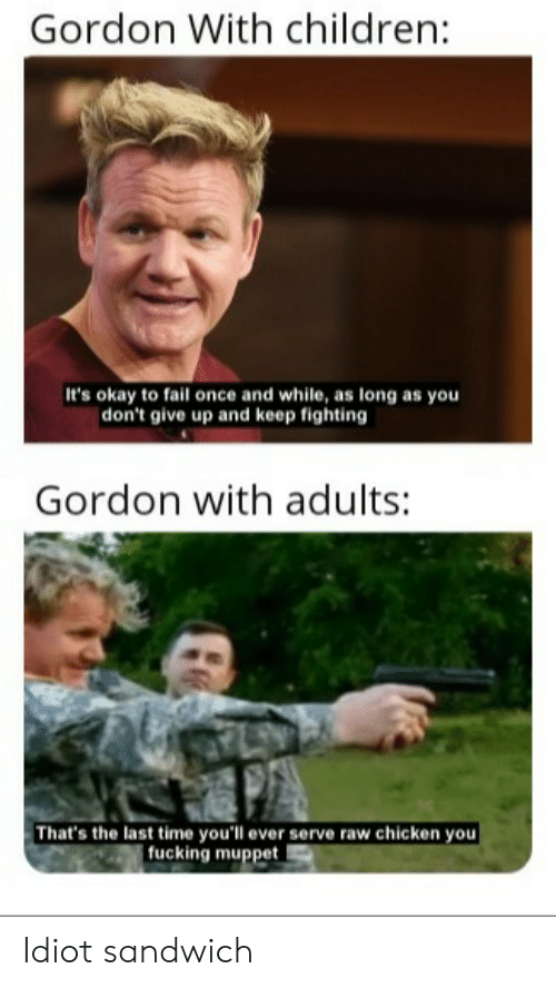 dont give up: Gordon With children:  It's okay to fail once and while, as long as you  | don't give up and keep fighting  Gordon with adults:  That's the last time you'll ever serve raw chicken you  fucking muppet Idiot sandwich