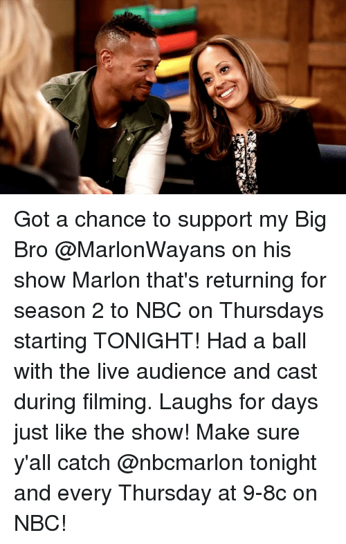 Memes, Live, and 🤖: Got a chance to support my Big Bro @MarlonWayans on his show Marlon that's returning for season 2 to NBC on Thursdays starting TONIGHT! Had a ball with the live audience and cast during filming. Laughs for days just like the show! Make sure y'all catch @nbcmarlon tonight and every Thursday at 9-8c on NBC!