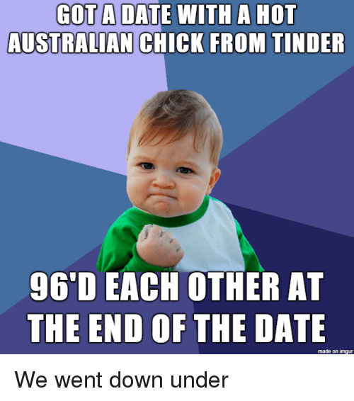 Tinder, Date, and Imgur: GOT A DATE WITH A HOT  AUSTRALIAN CHICK FROM  TINDER  9G'D EACH OTHER AT  THE END OF THE DATE  made on imgur We went down under