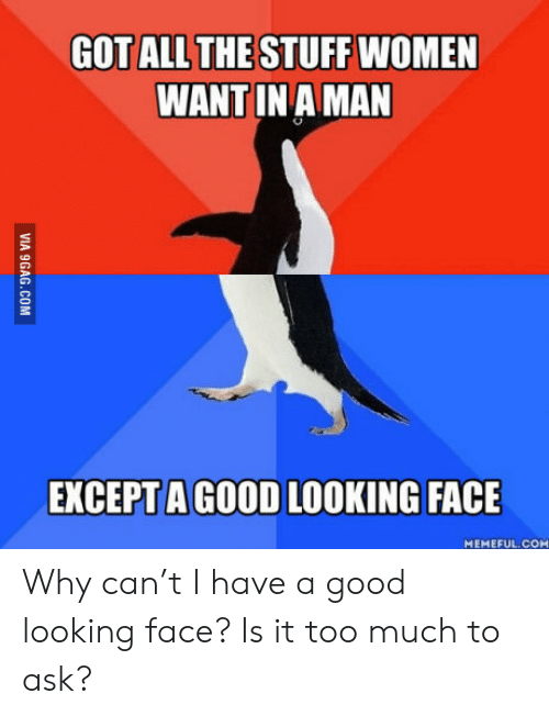 9gag, Too Much, and Good: GOT ALL THE STUFF WOMEN  WANT IN A MAN  EXCEPT A GOOD LOOKING FACE  MEMEFUL COM  VIA 9GAG.COM Why can't I have a good looking face? Is it too much to ask?