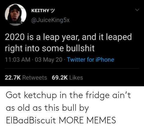Ain: Got ketchup in the fridge ain't as old as this bull by ElBadBiscuit MORE MEMES