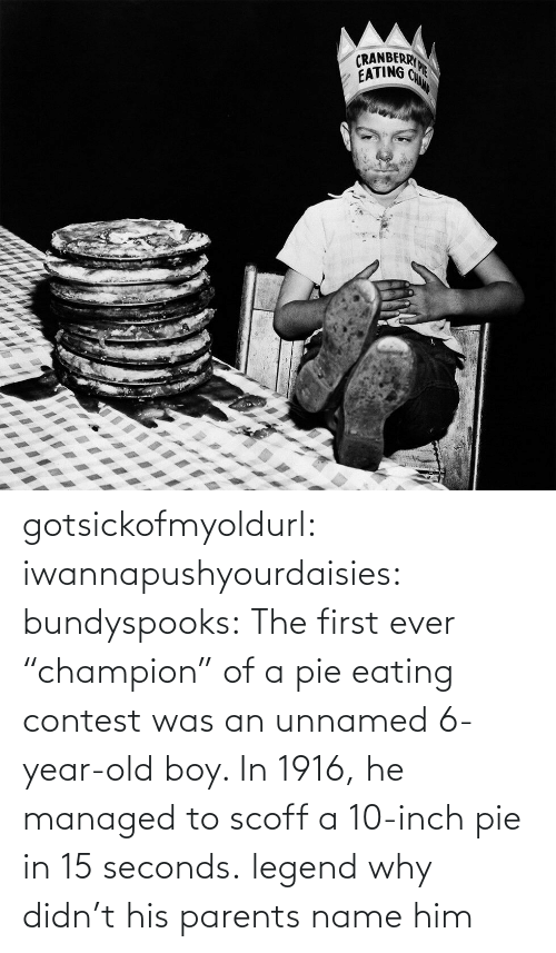 "First Ever: gotsickofmyoldurl: iwannapushyourdaisies:  bundyspooks:  The first ever ""champion"" of a pie eating contest was an unnamed 6-year-old boy. In 1916, he managed to scoff a 10-inch pie in 15 seconds.  legend  why didn't his parents name him"