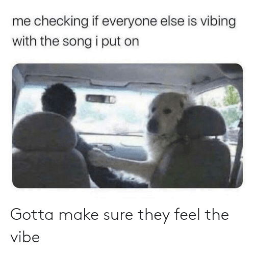 The: Gotta make sure they feel the vibe