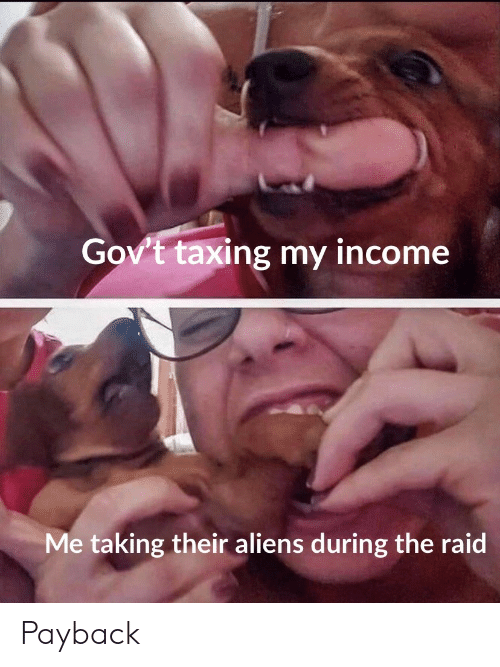 payback: Gov't taxing my income  Me taking their aliens during the raid Payback