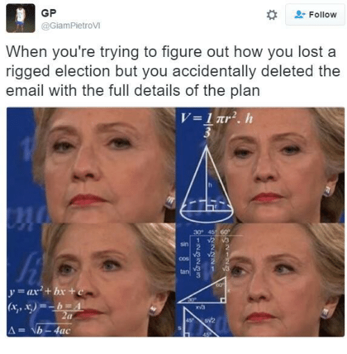 Lost, Email, and Anarchyball: GP  2: Follow  @GiamPietroVI  When you're trying to figure out how you lost a  rigged election but you accidentally deleted the  email with the full details of the plan  al  b -4ac